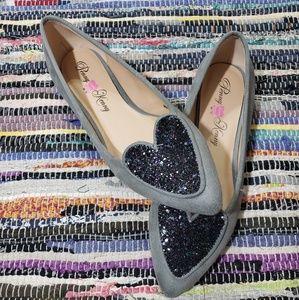 Penny Loves Kenny glitter heart loafer flats